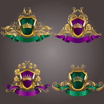 Set of gold vip monograms. elegant graceful frame, ribbon, filigree border, crown in vintage style
