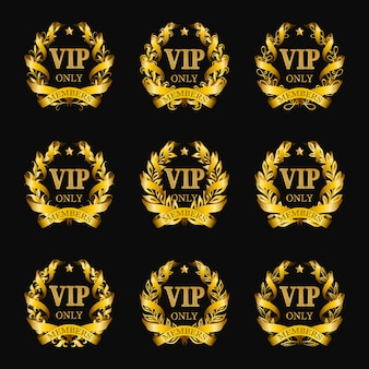 Set of gold vip monograms for graphic design on black background.