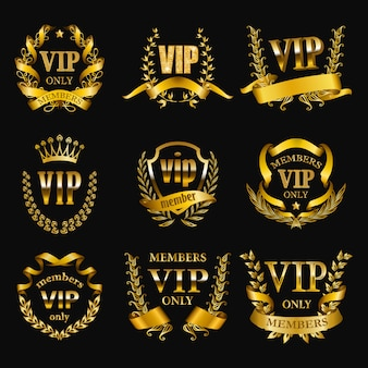 Set of gold vip monograms for graphic design on black