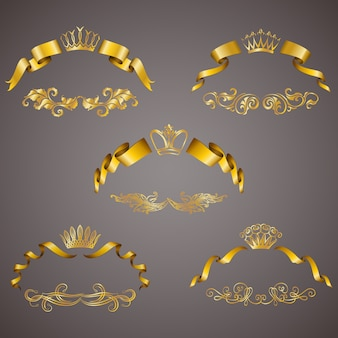 Set of gold vip monograms for graphic design