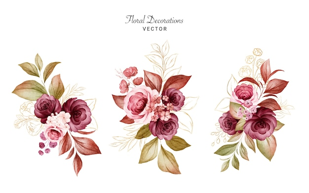 Set of gold watercolor floral arrangements of burgundy and peach roses and leaves. botanic decoration set