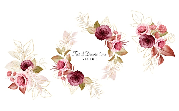 Set of gold watercolor floral arrangements of burgundy and peach roses and leaves.
