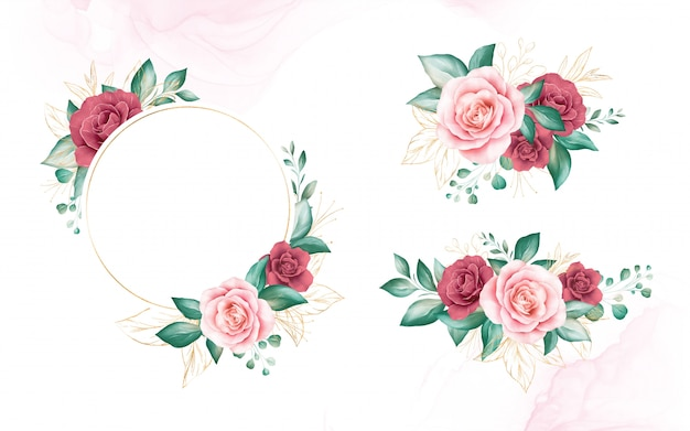Set of gold watercolor floral frame and bouquets. botanic decoration illustration of peach and red roses, leaves, branches.