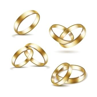 Set of gold wedding rings  on white background