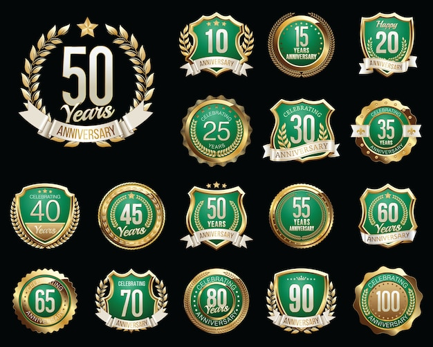 Set of golden anniversary badges isolated on black