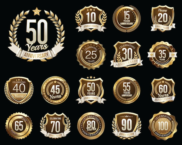 Set of golden anniversary badges. set of golden anniversary signs.
