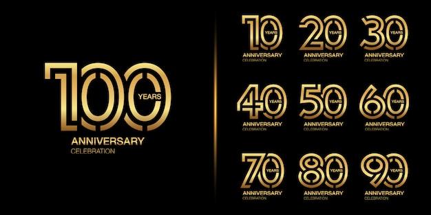 Set of golden anniversary celebration emblem design.