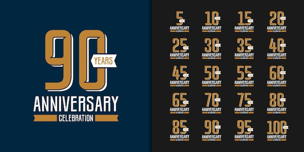 Set of golden anniversary celebration emblem design.