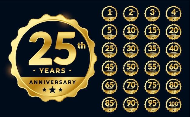 Set di etichette di emblemi di anniversario d'oro