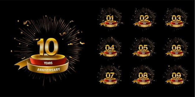 Set of golden anniversary logo vector celebration design with ring and ribbon