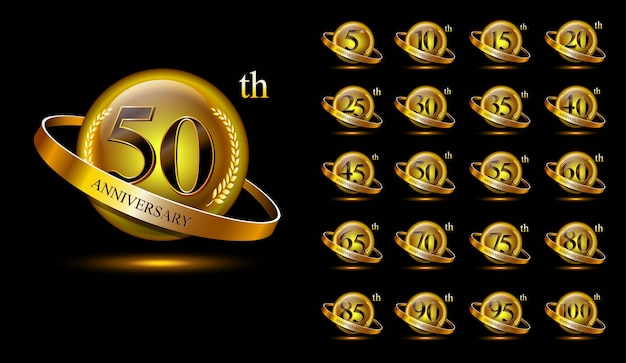 Set of golden anniversary logo. with ring and ribbon