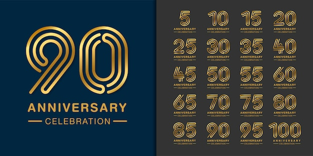 Set of golden anniversary logo.