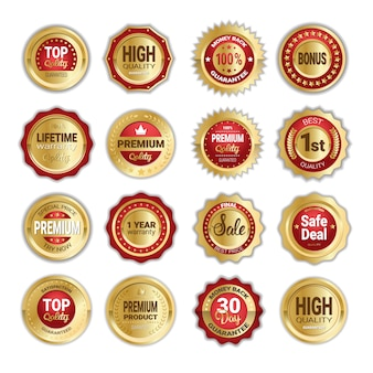 Set of golden badges sale, product quality and money back isolated