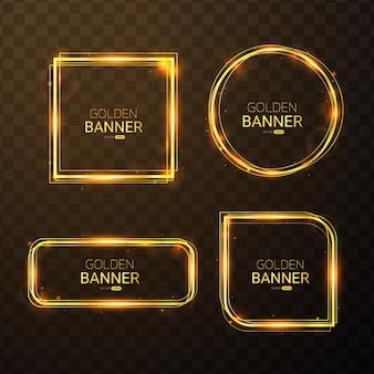 Set of golden banner with light effect