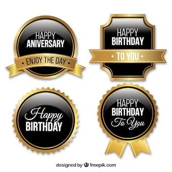Set of golden birthday badges