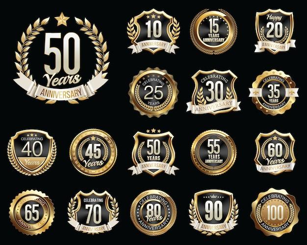 Set of golden black anniversary badges