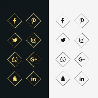 Set of golden and black social media icons