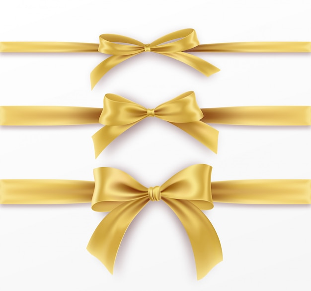 Set golden bow and ribbon on white background. realistic gold bow.