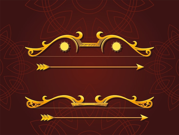 Set of golden bows and arrows on brown background