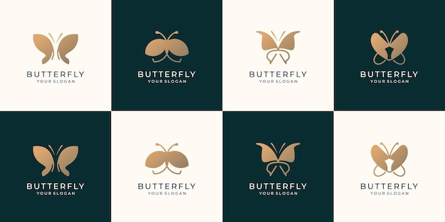 Set of golden butterfly logo template. collection beauty butterfly inspiration for business company.