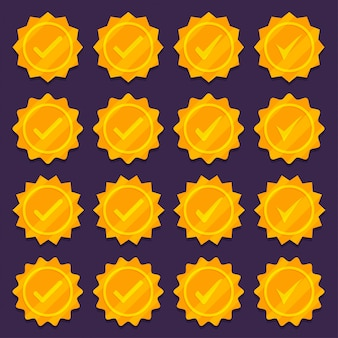 Set of golden check mark medal icons.