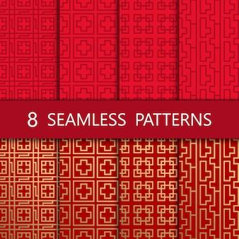 Set of golden chinese seamless pattern