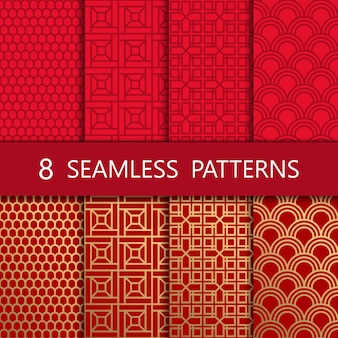 Set of golden chinese seamless pattern,