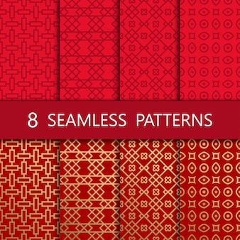 Set of golden chinese seamless pattern