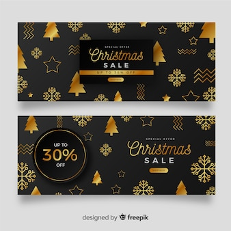 Set of golden christmas banners