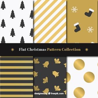 Set of golden christmas patterns