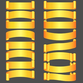 Set of golden congratulation ribbons different forms,