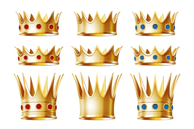 Set of golden crowns for king or monarch, queen or princess tiara, prince headdress. classic heraldic imperial sign. jewelry and emperor coronation ceremony, monarchy theme. isolated on white