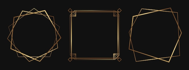 Set of golden decorative frames isolated art deco line art borders with empty space