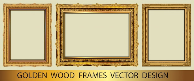 Set of golden decorative vintage frame