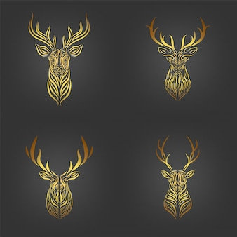Set of golden deer head,  golden deer head line art collection