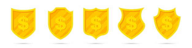 Set of golden different shields with dollar icon. money protection
