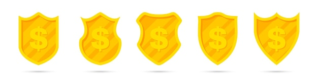 Set of golden different shields with dollar icon
