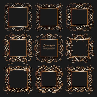 Set of golden dividers vintage frames.