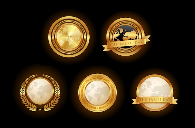 Set of golden earth emblem