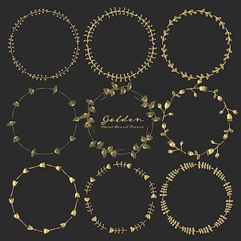 Set of golden floral round frames for decoration.