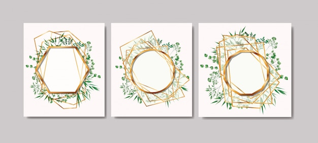 Set of golden frames and leafs wreath