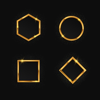 Set of golden frames with lights effects. glitter ircle, square, polygon, rectangle.