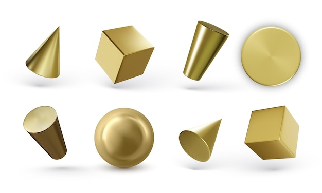 Set of golden geometric cylinders isolated on white