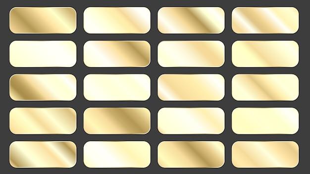 Set of golden gradient panels