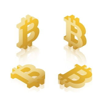 Set of golden isometric symbol of bitcoin cryptocurrency on white