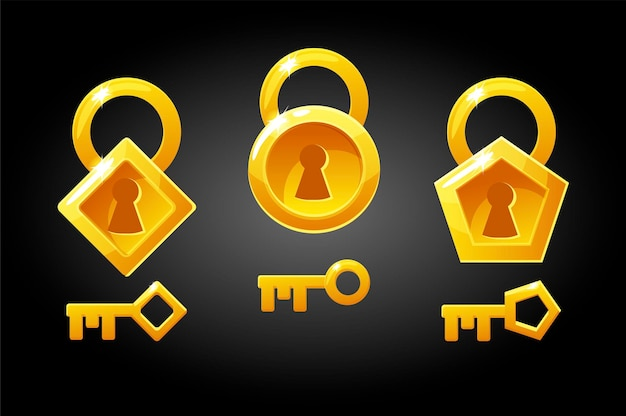 Set of golden keys and locks.