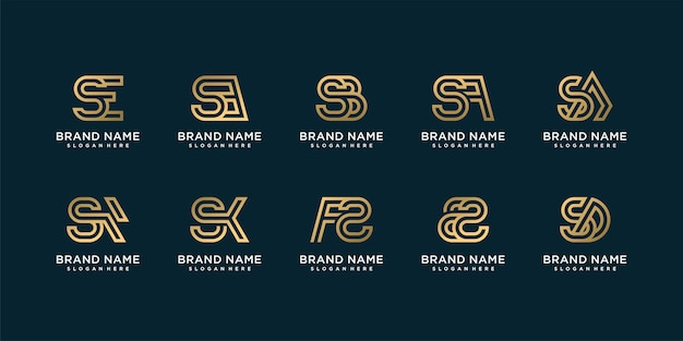 Set of golden letter logo collection with initial s golden company premium vector