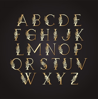 Set of golden letters with leafs