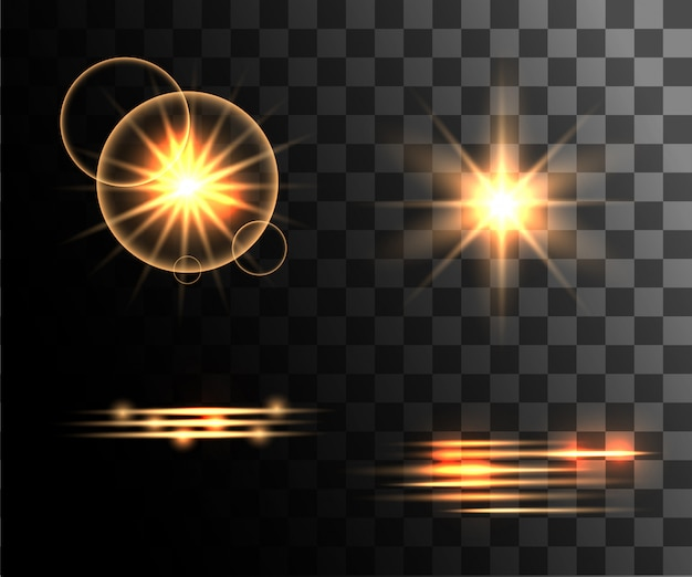 Set of golden  light effects glowing light rings with particles decoration  on the transparent background website page and mobile app