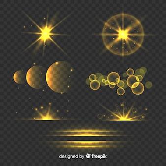 Set of golden light effects